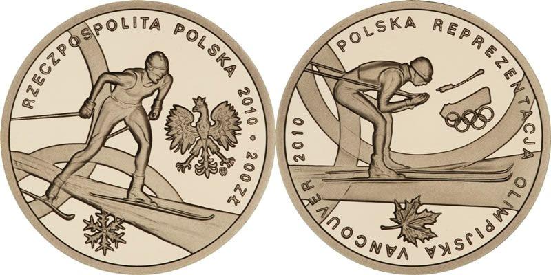 Złota moneta kolekcjonerska o nominale 200 zł - Polska Reprezentacja Olimpijska Vancouver 2010 www.numizmatyczny.pl