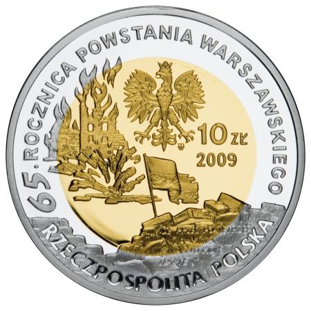10 zł, 65. rocznica Powstania Warszawskiego - poeci warszawscy - T. Gajcy, 2009