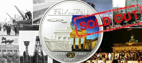 5 dollarów, Fall of the Wall - Upadek muru berlińskiego - moneta z kawałkiem muru, 2009