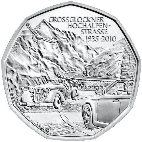 Srebrna moneta kolekcjonerska 5 Euro, 75 years Grossglockner Alpine Road, 2010
