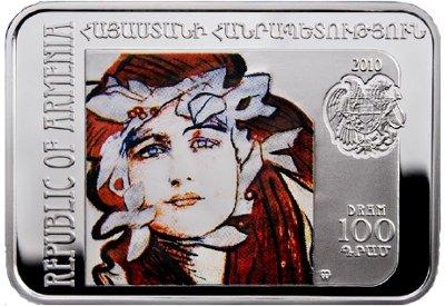 srebrna moneta 100 dram, Malarze Świata - Teodor Axentowicz (1859-1938), 2010