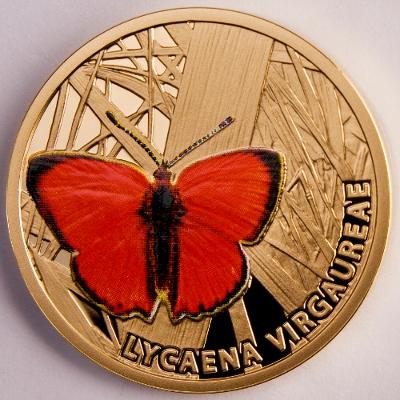 5 $, Motyle - Czerwończyk dukacik (Lycaena virgaureae), 2010