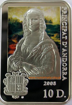 www.numizmatyczny.pl 10 dinerów, Malarze Świata - Leonardo da Vinci (1452-1519), 2008