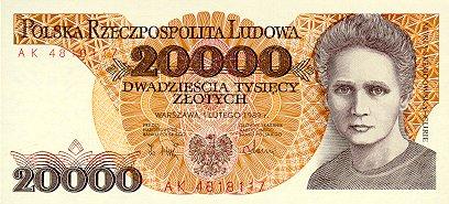 Banknot Maria Skłodowska Curie o nominale 20000 zł z 1989 roku