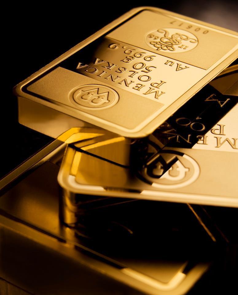 sztabki złota z Mennicy Polskiej