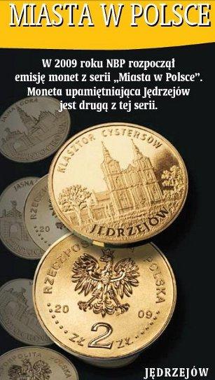 2 zł, Miasta w Polsce - Jędrzejów - Klasztor Cystersów, 2009