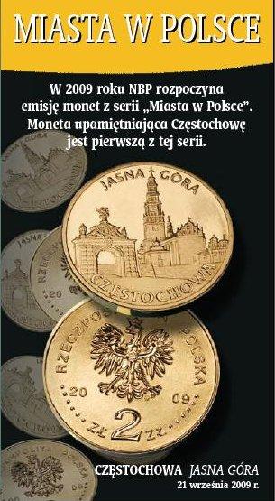 2 zł, Miasta w Polsce - Częstochowa, 2009