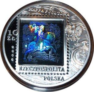 Srebrna moneta kolekcjonerska: 10 zł, 450 lat Poczty Polskiej, 2008