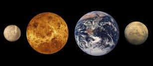 Planety wewnętrzne. Od lewej do prawej: Merkury, Wenus, Ziemia i Mars