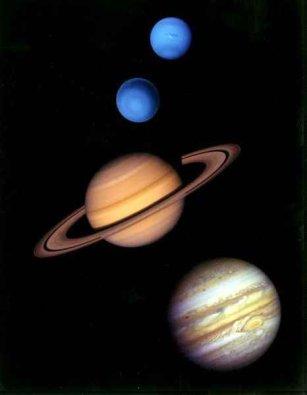 Planety zewnętrzne: (od góry) Neptun, Uran, Saturn i Jowisz