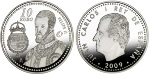 10 Euro, Program Europa 2009 - Kr�l Filip II (1556-1598), 2009